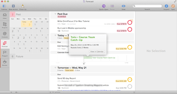see forecasts in OmniFocus of everything you do