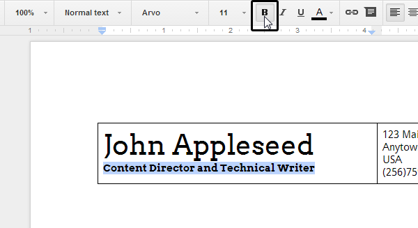 Setting a font for the header part