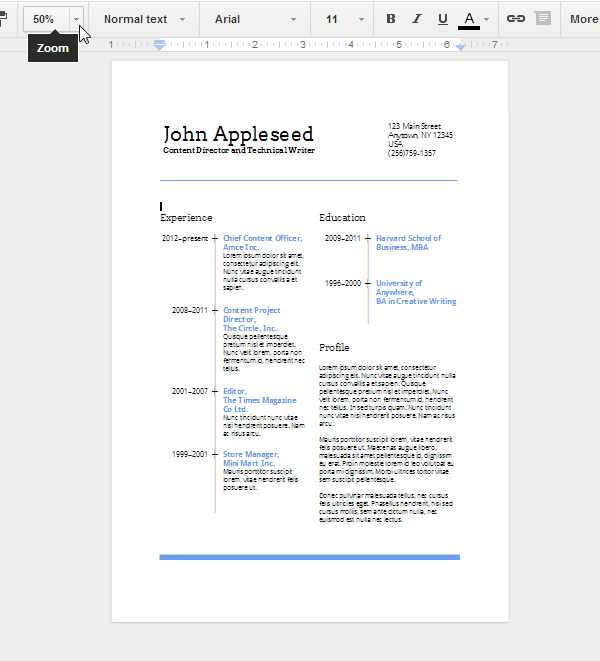 A preview of the finished resume