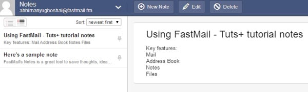 notes in fastmail
