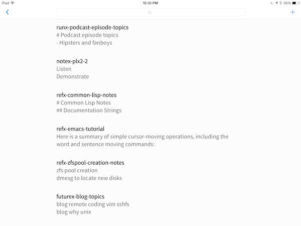 Simplenote iPad app
