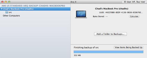 Arq Backup Finishing
