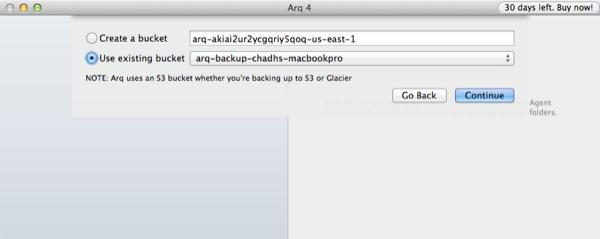 Arq Backup Setup Choose S3 Bucket