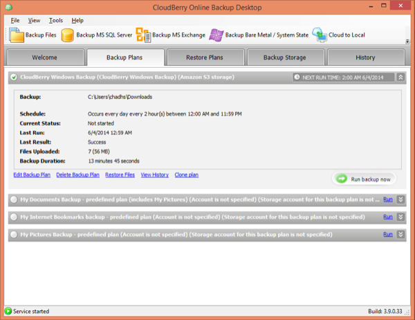 CloudBerry Backup Confirmation