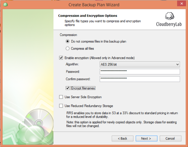 CloudBerry Backup Wizard Compression Encryption