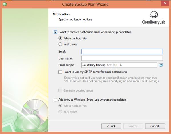 CloudBerry Backup Wizard Notification