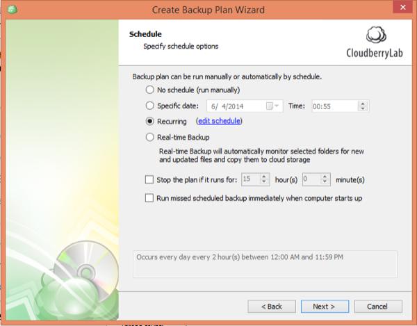 CloudBerry Backup Wizard Schedule