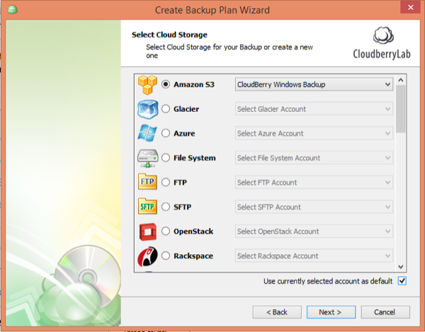 CloudBerry Backup Wizard Select S3