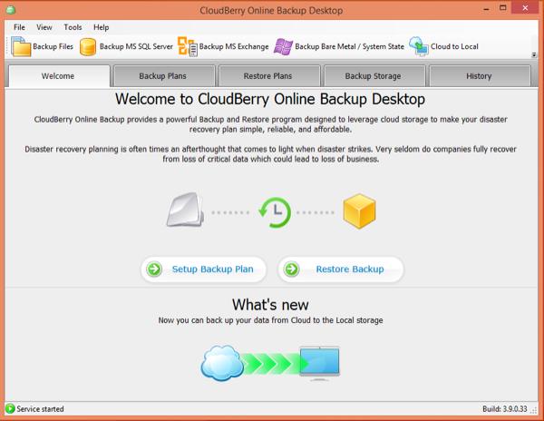 CloudBerry Start Screen