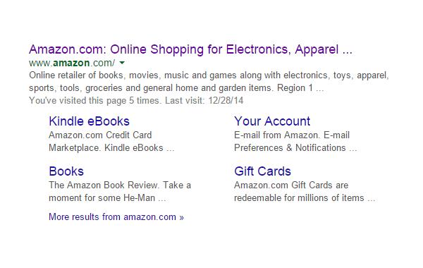 sitelinks for amazon