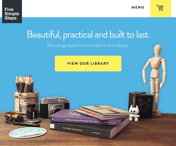 Five Simple Steps make use of theme images to provide their home page hero image