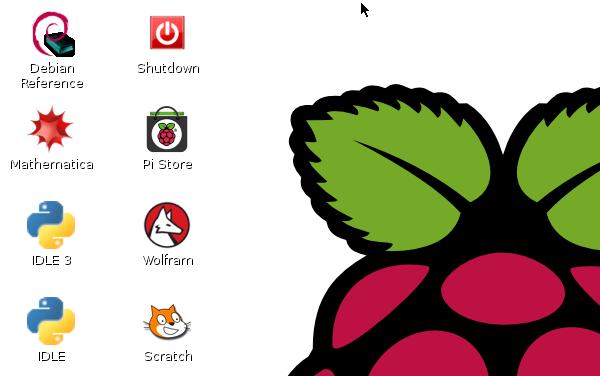 A selected screenshot of the Raspberry Pi desktop