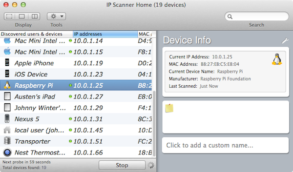Scanning for IP addresses with IP Scanner