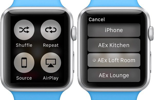 Select the source shuffle repeat and AirPlay to speakers