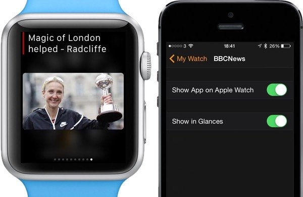 Glances are managed in the Apple Watch app on iPhone