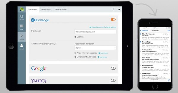 Pre-configure email accounts across devices and make it easy for you and employees