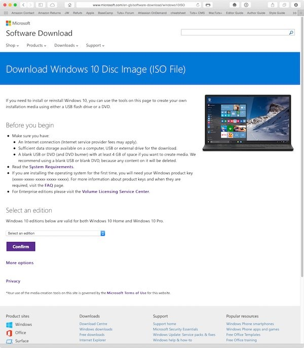 Downloading a Windows 10 ISO from Microsoft Insider