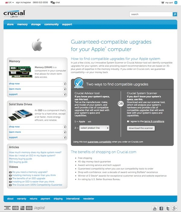 Crucial is a long established reputable supplier of Apple Mac memory upgrades