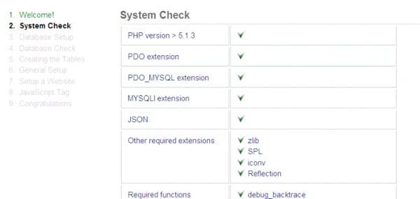 Piwik Installation Wizard System Check