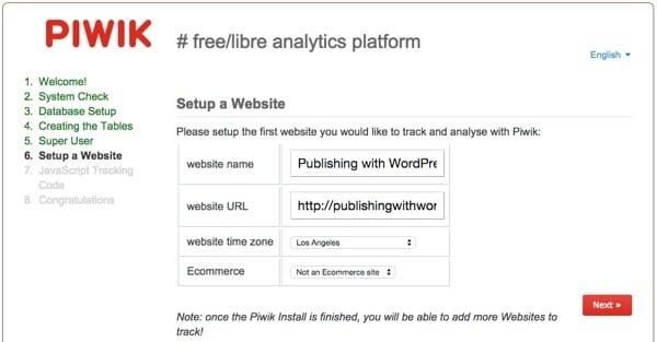 Piwik Installation Wizard Add Your Site