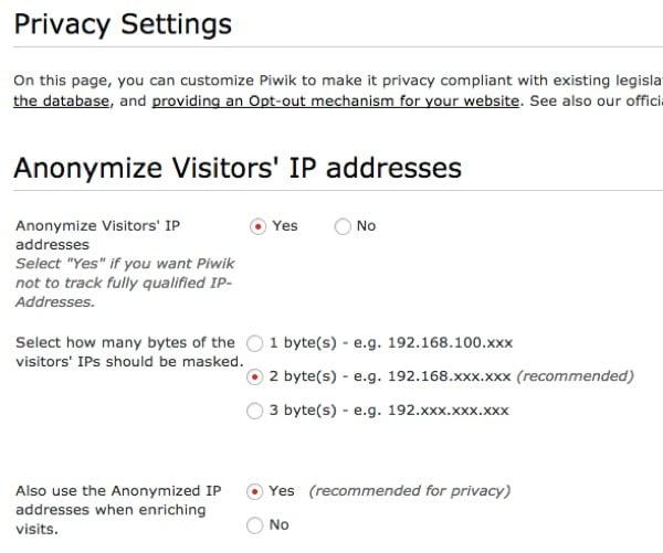 Piwik Anonymize IP Addresses