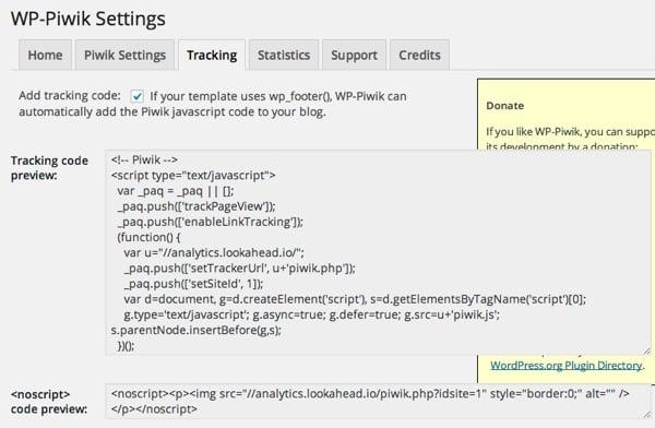 WP-Piwik Plugin for WordPress Tracking