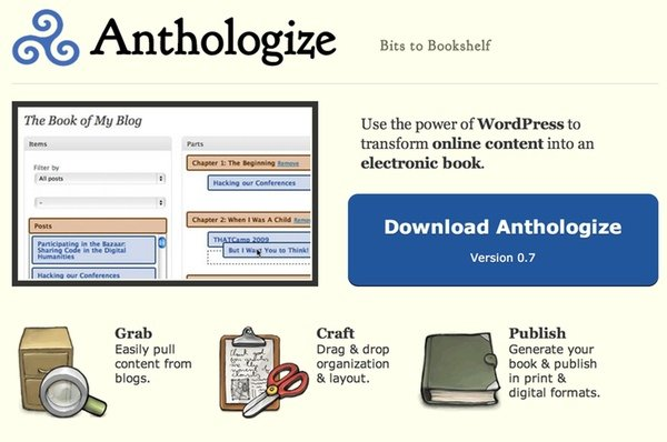 Anthologize - turn your WordPress blog into an ebook