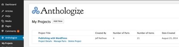 Anthologize Project List