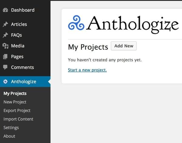 Anthologize Projects Dashboard