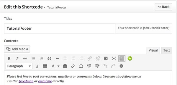 Editing my tutorial page footer in shortcoder
