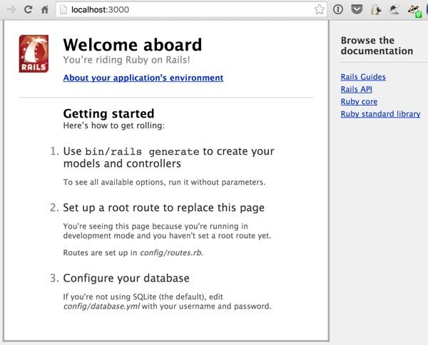 What is Ruby on Rails Welcome Page of New Application