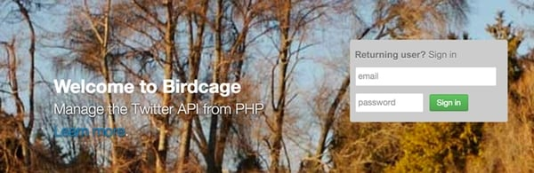 The BirdCage Twitter API Application Home Page