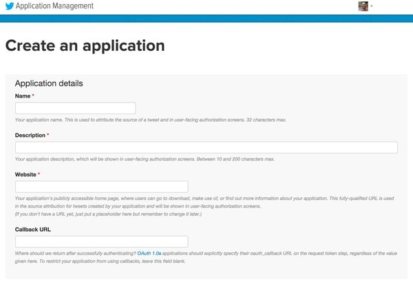 Create an Application for the Twitter API