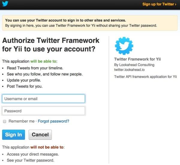 Twitter OAuth Challenge Screen