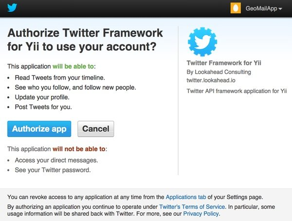 Authorize app for Twitter API