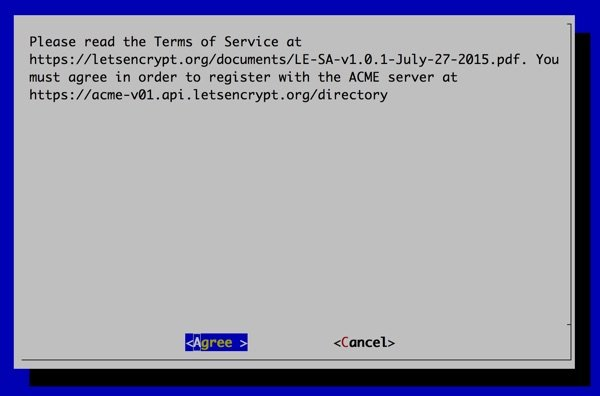 Lets Encrypt Installation Terms of Service