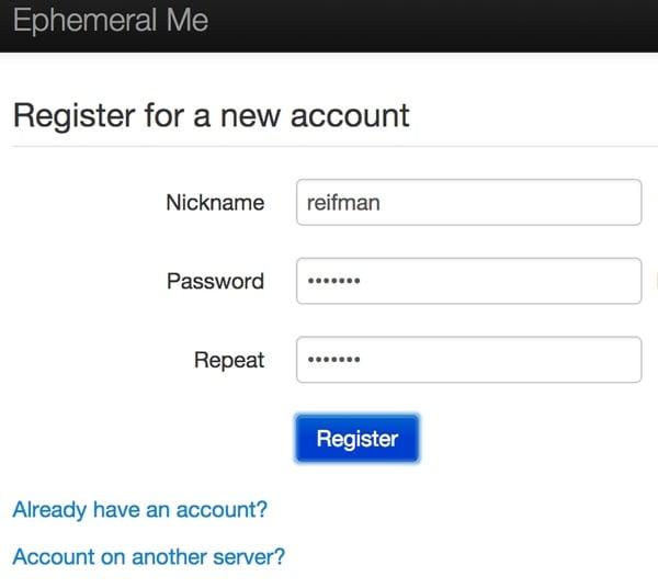 Register with Ephemeral Me Pumpio