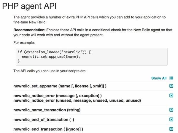New Relic PHP Agent API