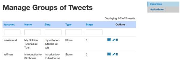 Manage Groups of Tweet Storms