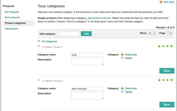 Create Categories at Spreadshirt