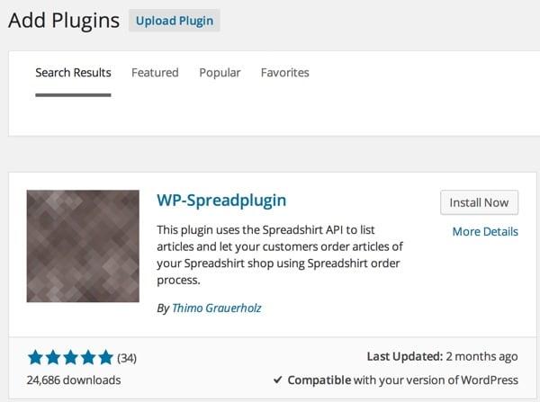 Install the Spreadplugin for Spreadshirt