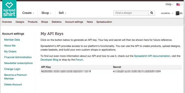 Get Your API Keys - Spreadshirt
