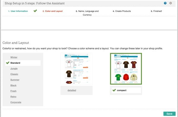 Choose Color and Layout of Shop at Spreadshirt