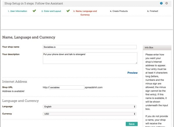 Set Name Language and Currency at Spreadshirt