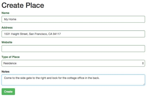 Meeting Planner Manually Add Place