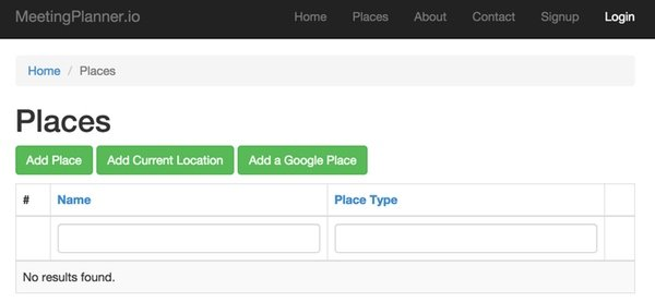 Meeting Planner Place Index Page