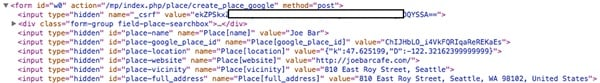 Meeting Planner Hidden Fields from Google Places Autocomplete