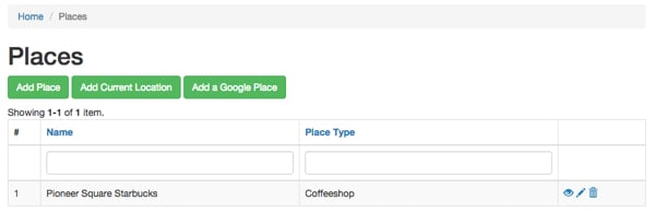 Meeting Planner Place Index Page with New Places