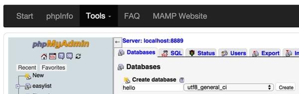 MAMP PHPMyAdmin Create Database