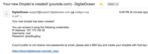 Digital Ocean Droplet Announcement Email